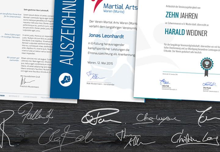 Unterschriften- und Signaturen-Vorlagen