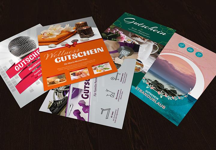 Vorlagen Geschenk-Gutschein für Word und Photoshop