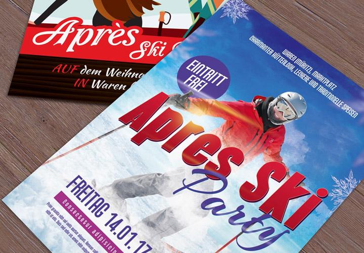 Flyer-Vorlagen für Après-Ski-Party und Hüttengaudi