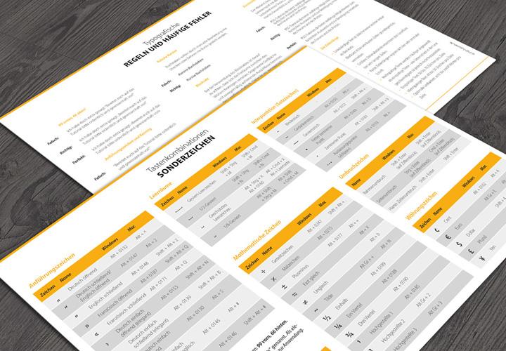 Referenzkarte für Sonderzeichen und typografische Regeln