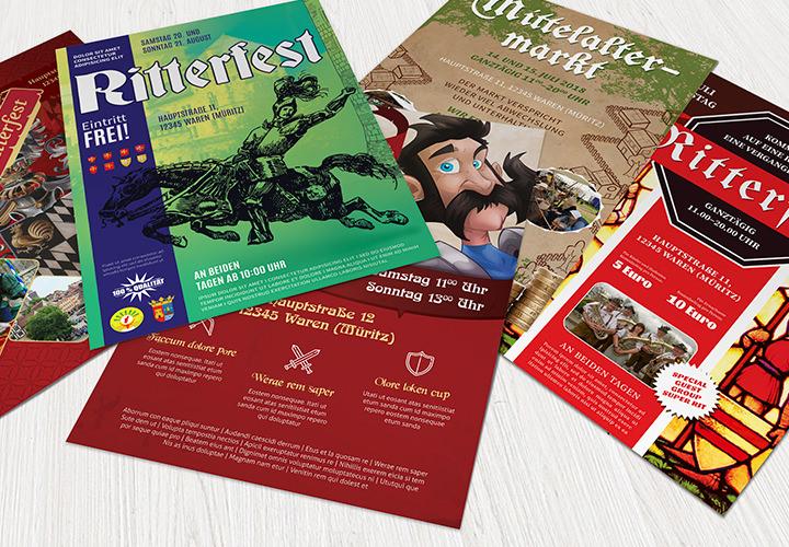Flyer-Vorlagen für Mittelaltermarkt und Ritterfest