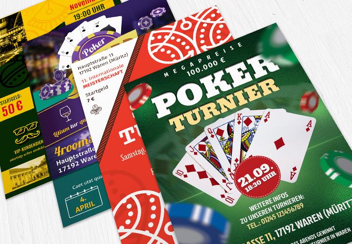 Vorlagen für Skat- und Pokerturnierflyer