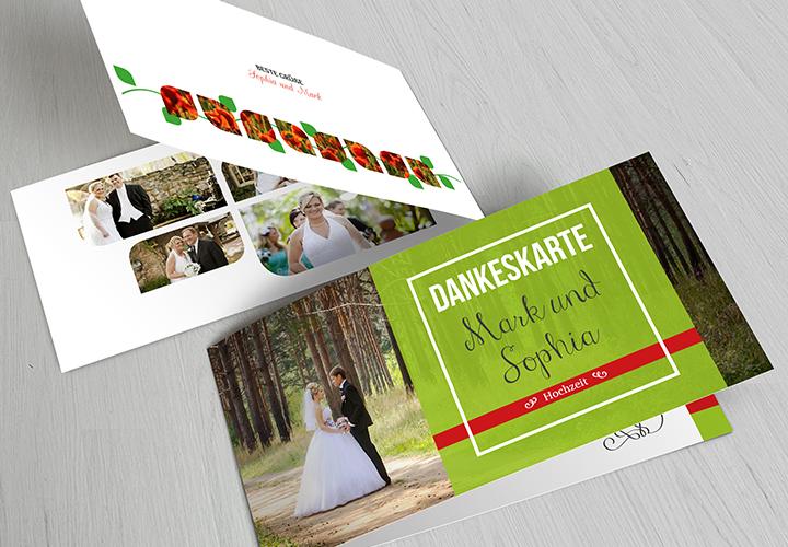 Hochzeits-Dankeskarte: moderne Vorlagen