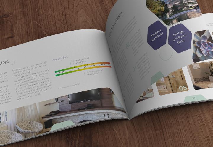 Zwölfseitige Exposé-Vorlagen für Immobilien, Häuser und Wohnungen