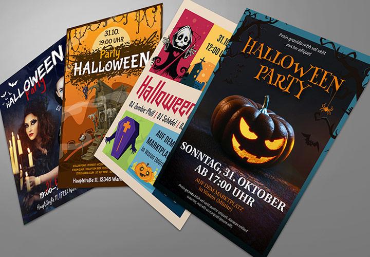 Halloween-Vorlagen für Flyer, Plakat & Party-Einladung
