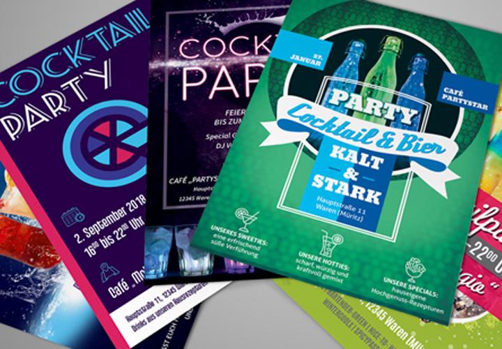 Party-Flyer, -Plakate und -Poster: Vorlagen für Cocktailpartys