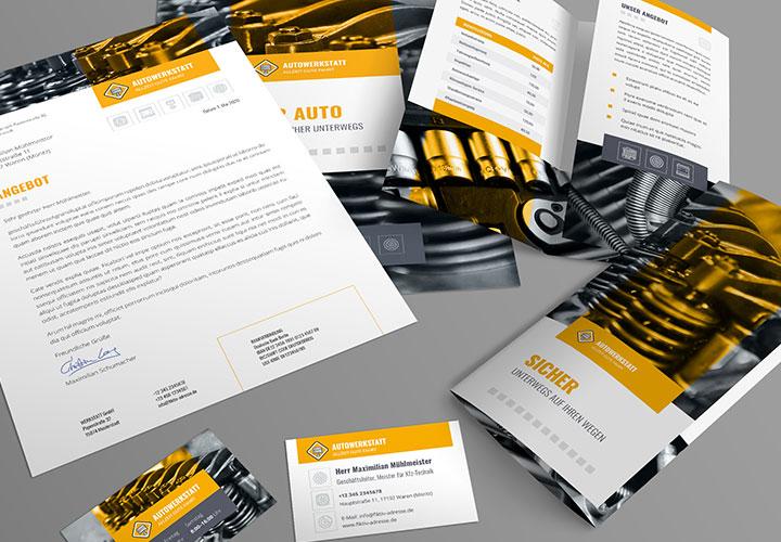 Corporate-Design-Vorlagen für Werkstätten – vom PowerPoint-Layout bis zur Visitenkarte