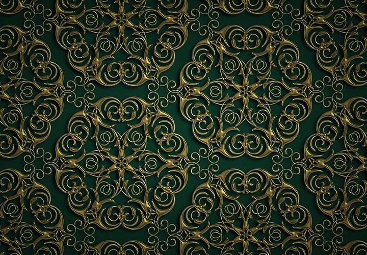 Goldene Ornamente auf grünem Hintergrund