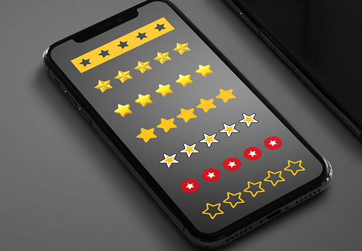 Vorlagen für die Sterne-Bewertung auf Webseiten und zur Illustration