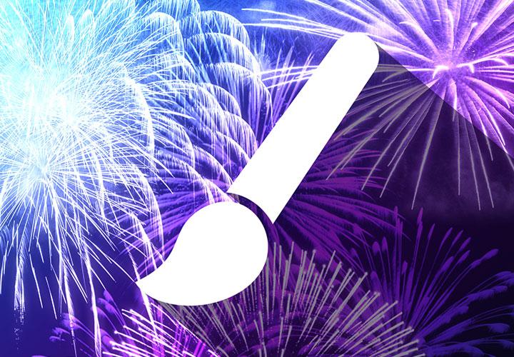 Leuchtendes Feuerwerk – 100 Pinsel für Photoshop, Affinity Photo und Co.