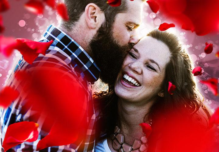 """Photoshop-Aktion """"Romantischer Liebesrausch"""": Bokeh & Rosenblätter"""
