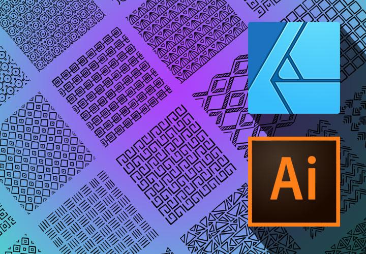 50 Ornamente: Vektor-Muster für Adobe Illustrator und Affinity Designer