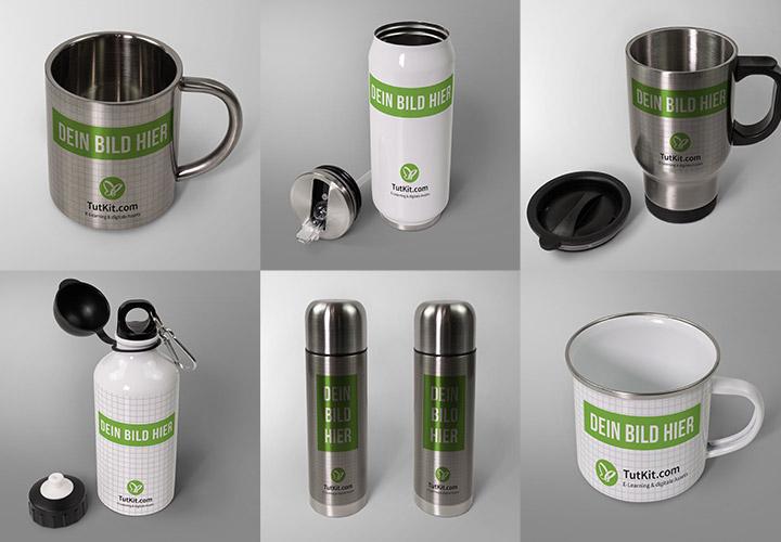 59 Photoshop-Mockups für Flaschen und Tassen – Sparpaket