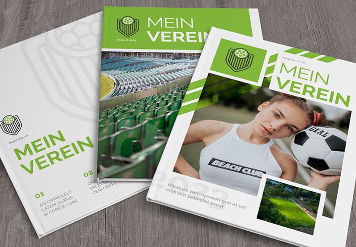 Vereinszeitung erstellen: Vorlage für Sportvereine mit 50 Musterseiten