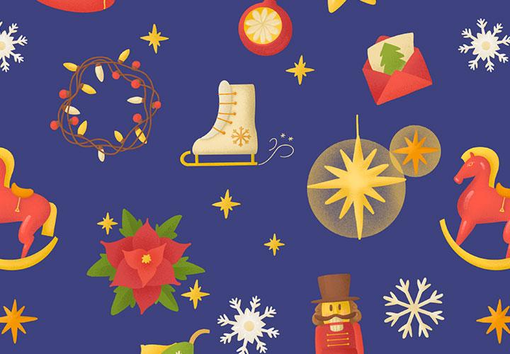 Weihnachtliche Illustrationen als Muster und Bilder für stimmungsvolle Hintergründe
