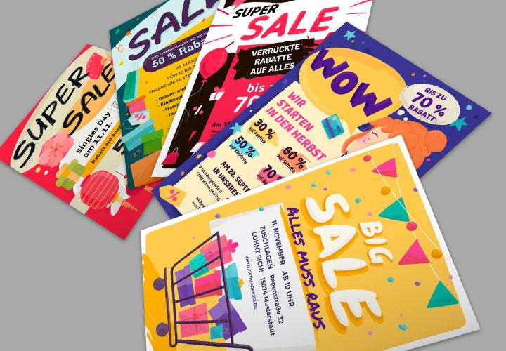 Werbeplakat-Vorlagen für Rabattaktionen und Sonderverkäufe