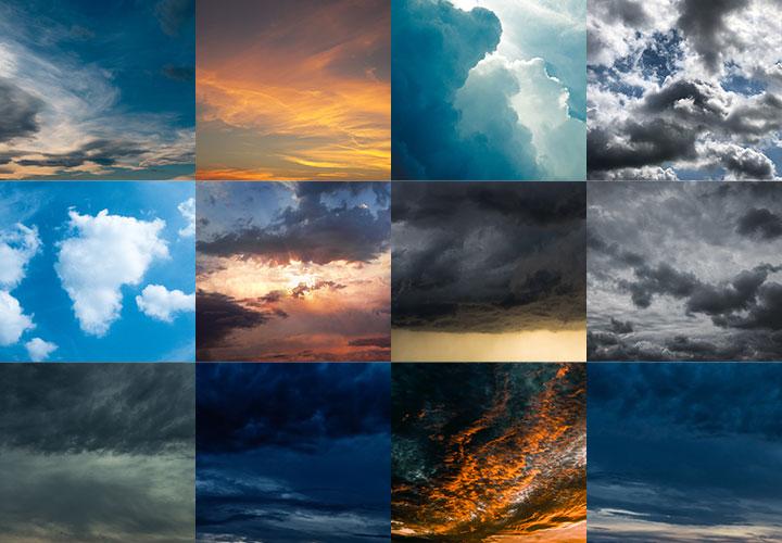 Über 200 Wolken-Assets im Sparpaket: Bilder, Pinsel und Vektorgrafiken