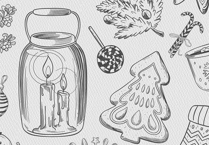 Weihnachtsmotive in Schwarz-Weiß – Bilder zur Dekoration und für Glückwunschkarten