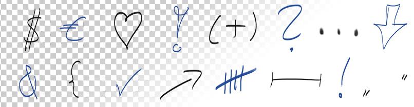 Freigestellte Symbole und Zeichen