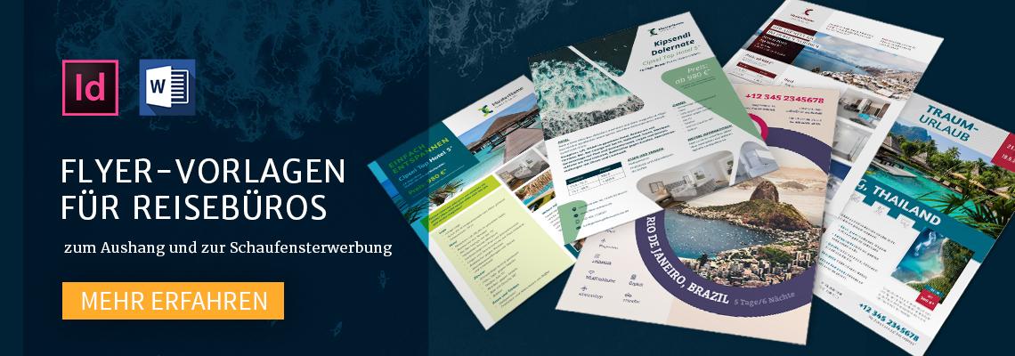 Flyer-Vorlagen für Reisebüros zum Aushang und zur Schaufensterwerbung