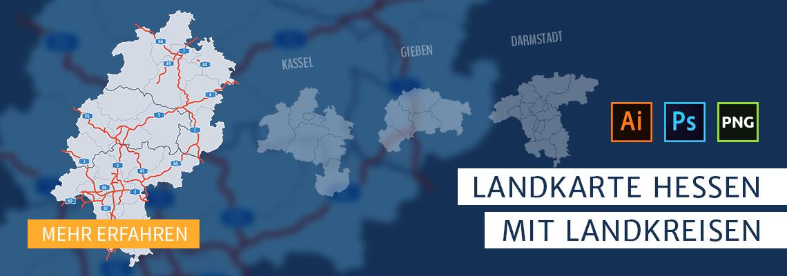 Landkarte Hessen mit Landkreisen