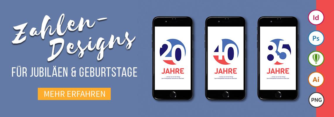 Schöne und bunte Zahlen-Designs für Jubiläen und Geburtstage