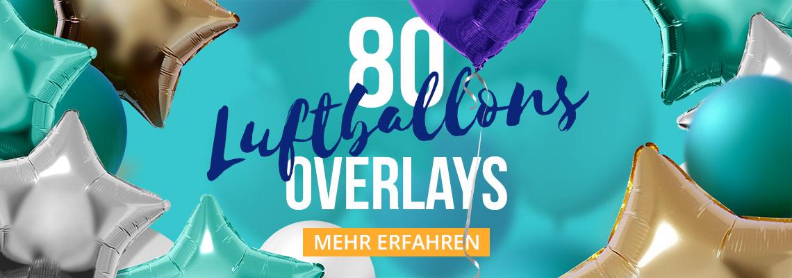 80 Bilder mit bunten Luftballons vor transparentem Hintergrund