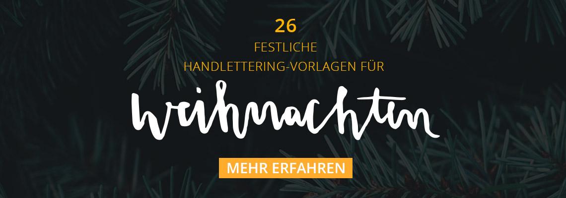 Festliche Handlettering-Vorlagen für Weihnachten und Neujahr