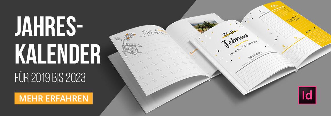 Kalender-Vorlagen 2019-2023: Jahresplaner, Buchkalender und Co.