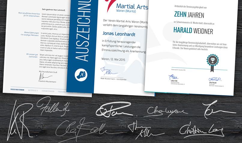 Darstellung verschiedener Unterschriften zur Anwendung als Platzhalter