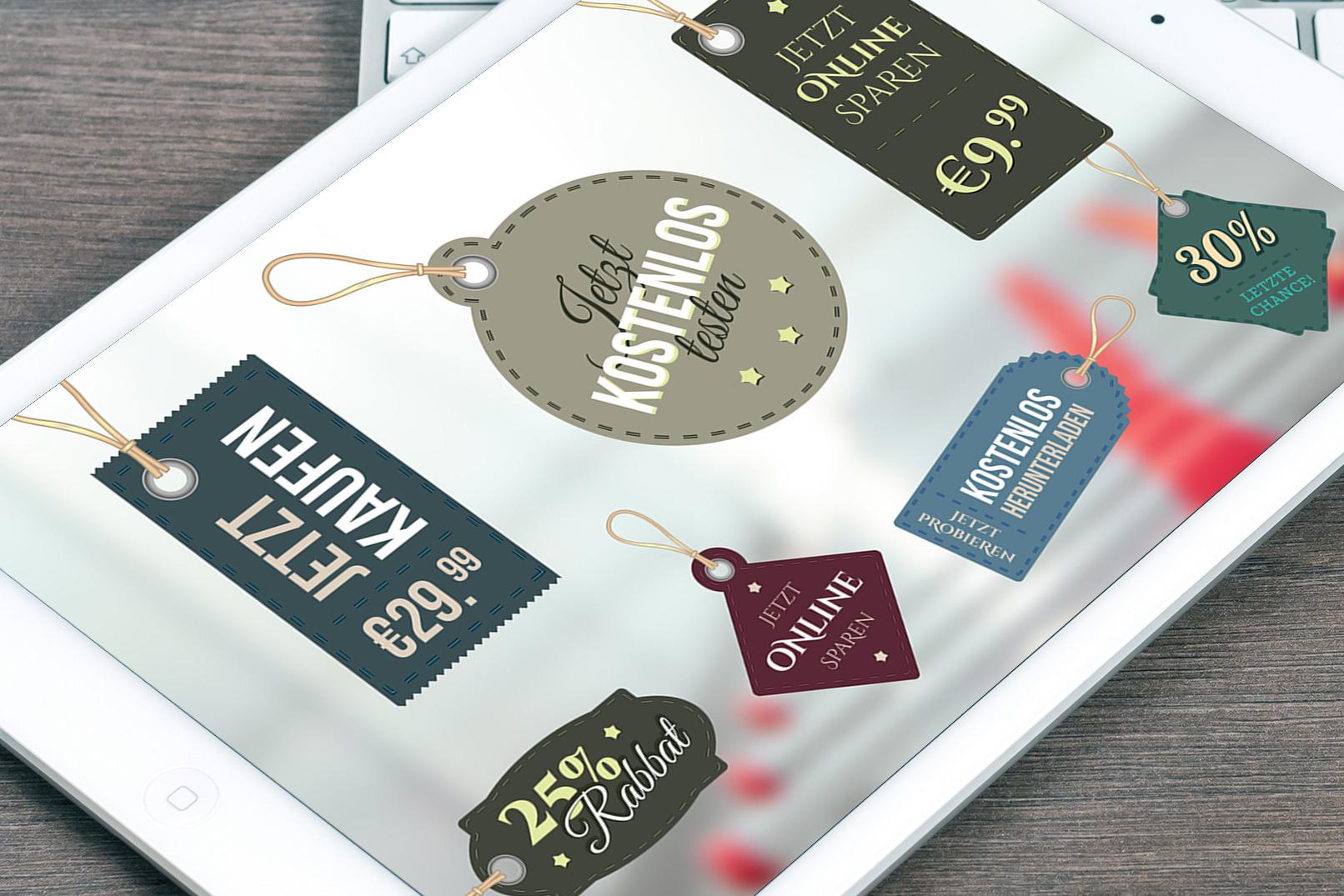 Vorlagen und Illustrationen für Badges und Preisetiketten