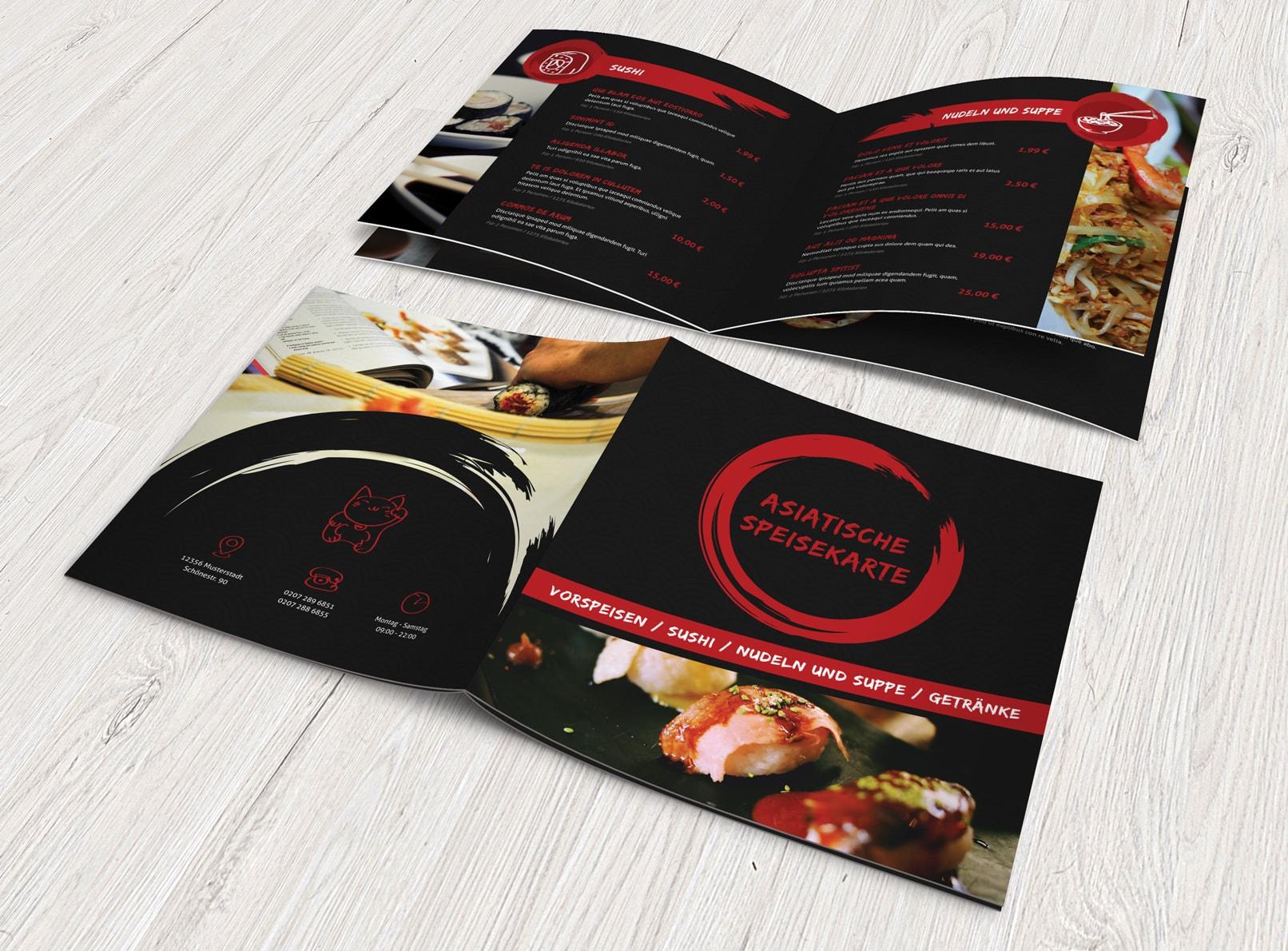 Speisekarten-Vorlage für asiatische Restaurants
