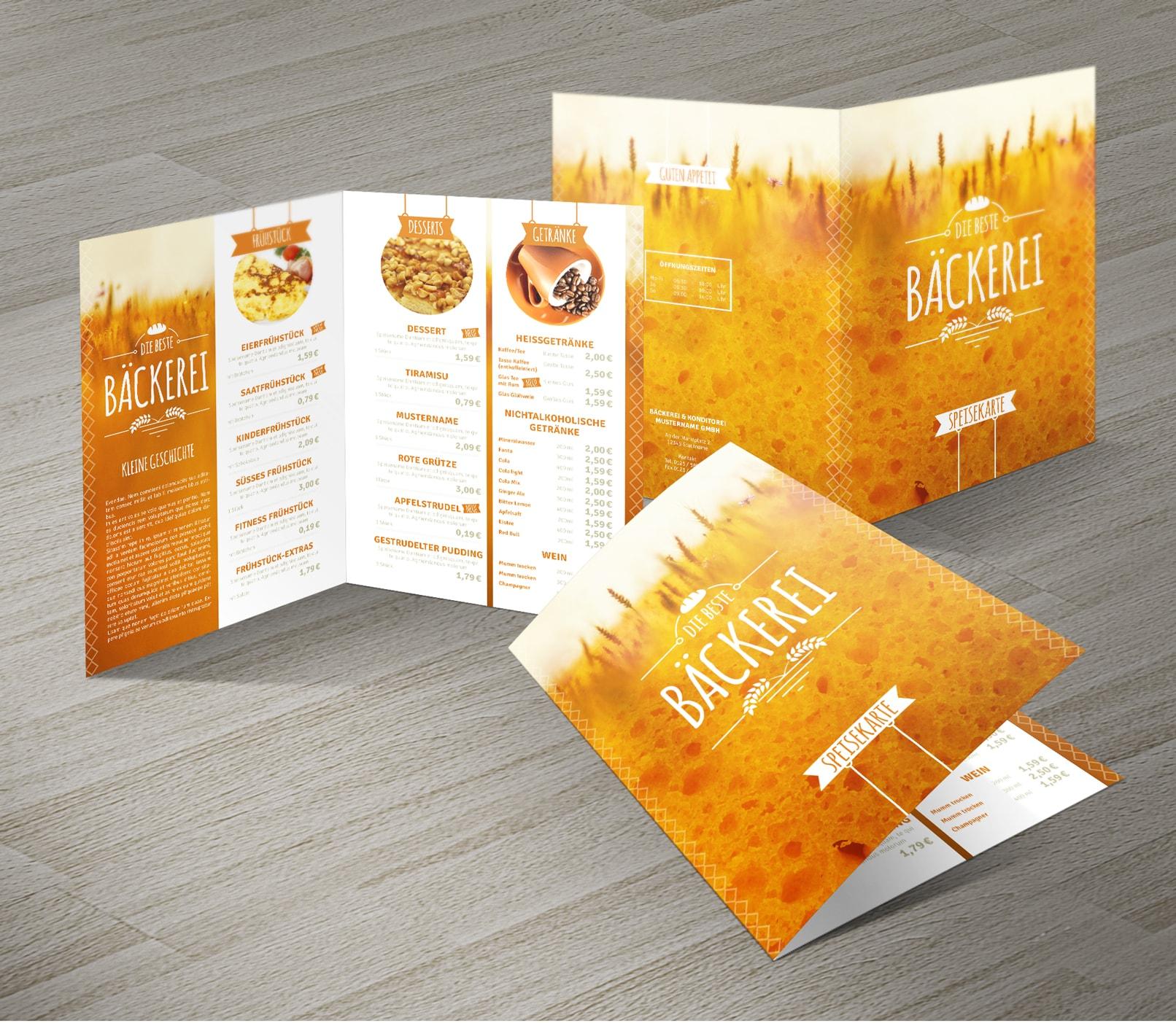 Speisekarten-Vorlagen zur Bearbeitung in InDesign