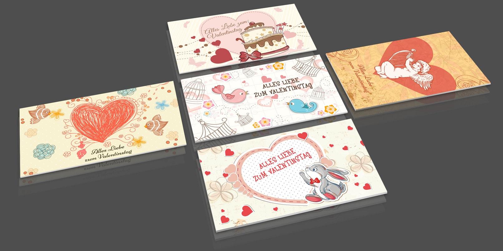 Beispiele von Hochzeitsmotiven und Bildern zum Valentinstag mit Herz und Liebe