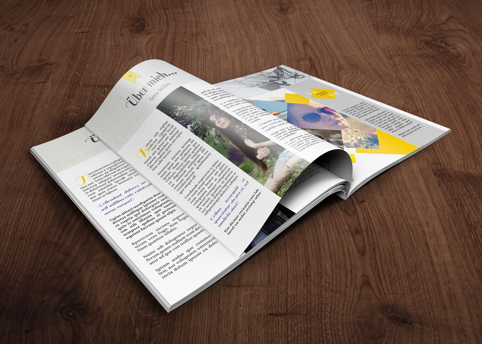 Vorlage für Abizeitung und Schülerzeitung im Hochformat DIN A4