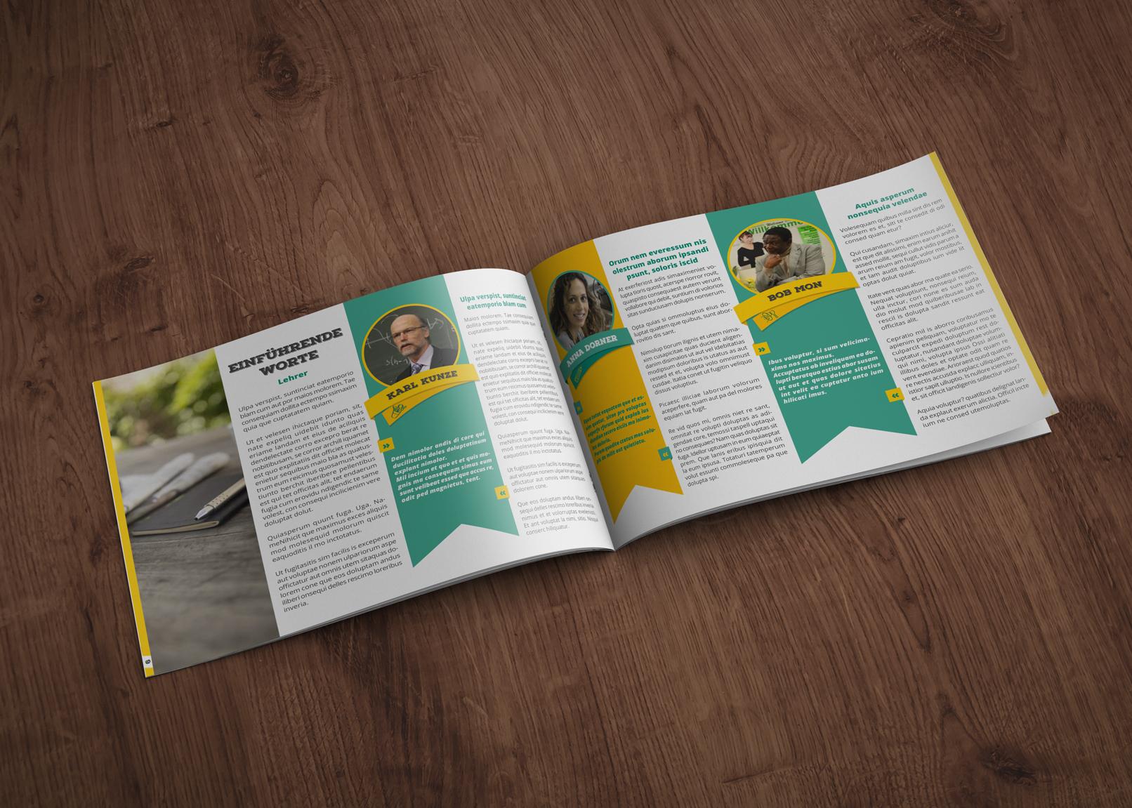Vorlage für Abizeitung und Schülerzeitung im Querformat DIN A4