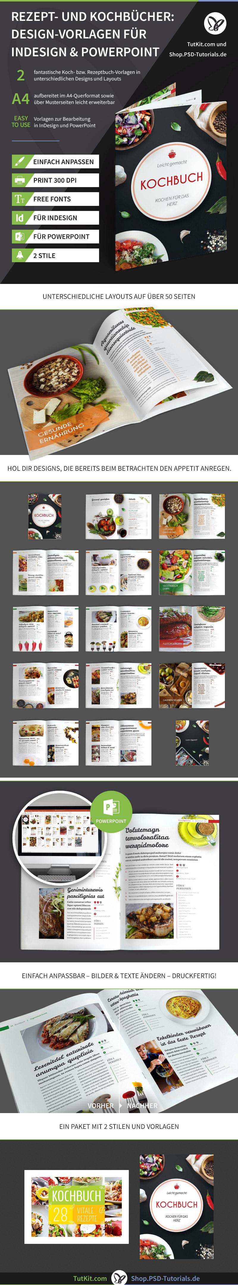 Überblick über die Design-Vorlagen für Rezept- und Kochbücher