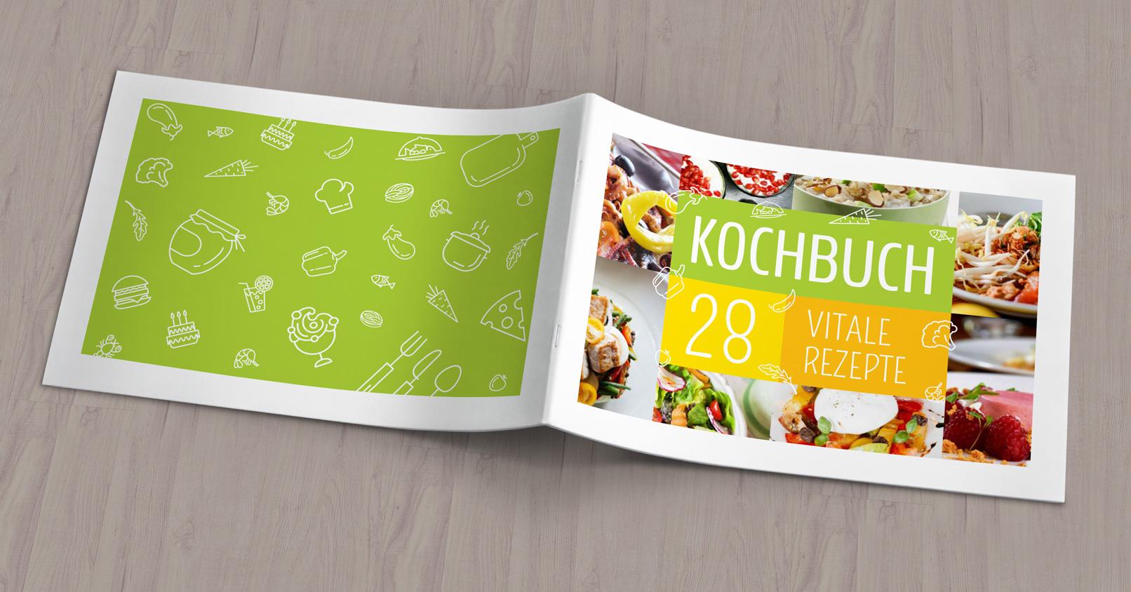 Vorlagen für Rezeptbuch, Kochbuch, Backanleitung im A4-Querformat
