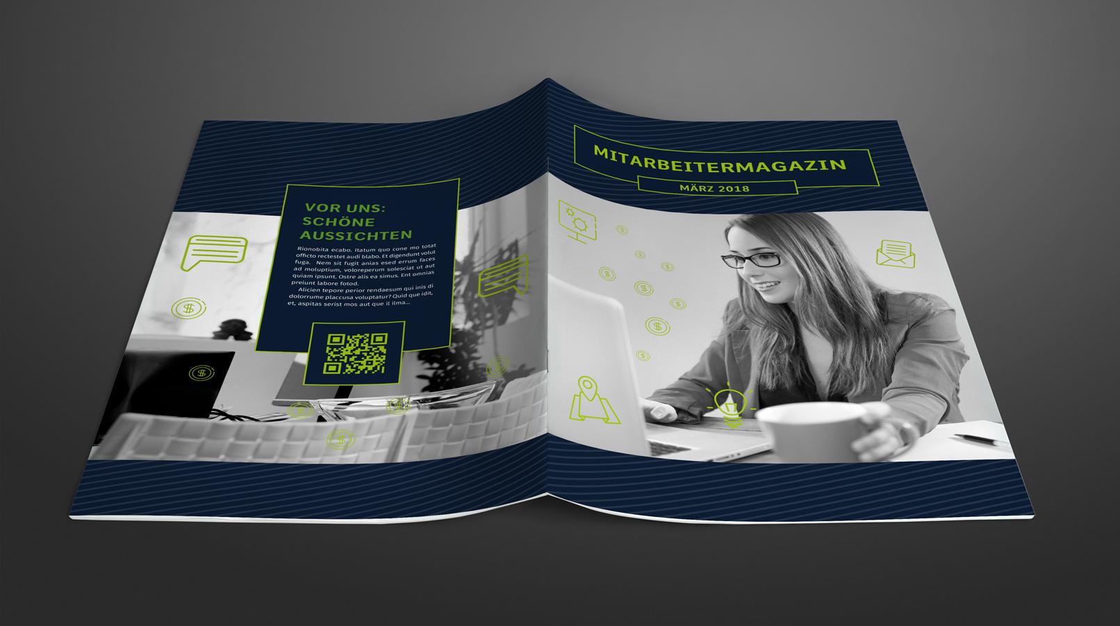 Vorlage zum Gestalten einer Mitarbeiterzeitung im Hochformat DIN A4