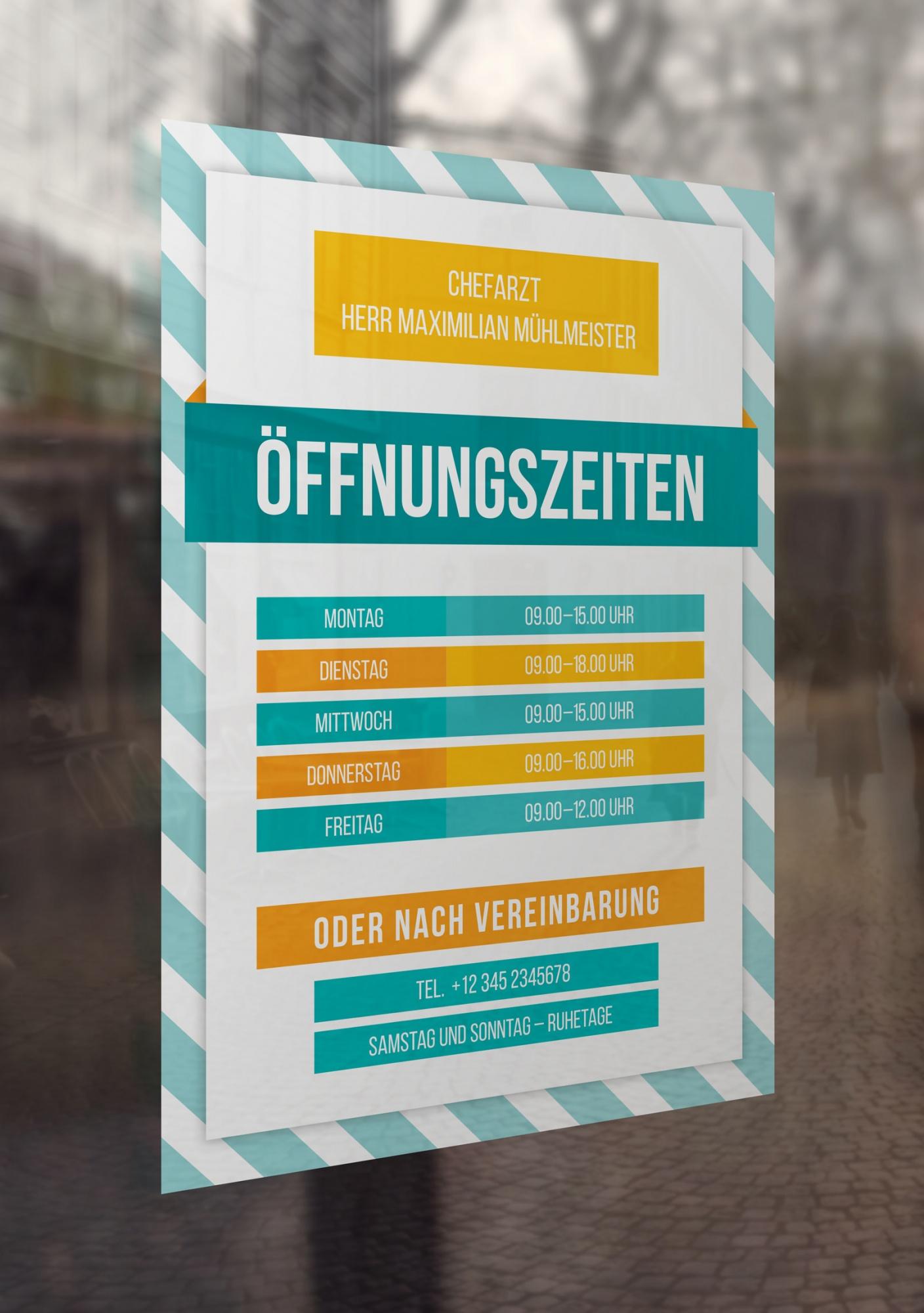 Vorlage für Öffnungszeiten-Schild und -Aushang im Hochformat
