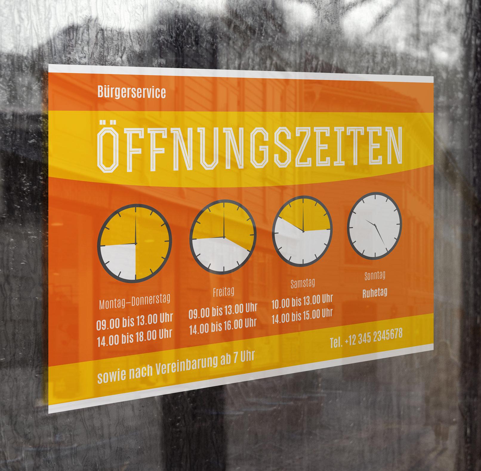 Vorlage für Öffnungszeiten-Schild und -Aushang im Querformat