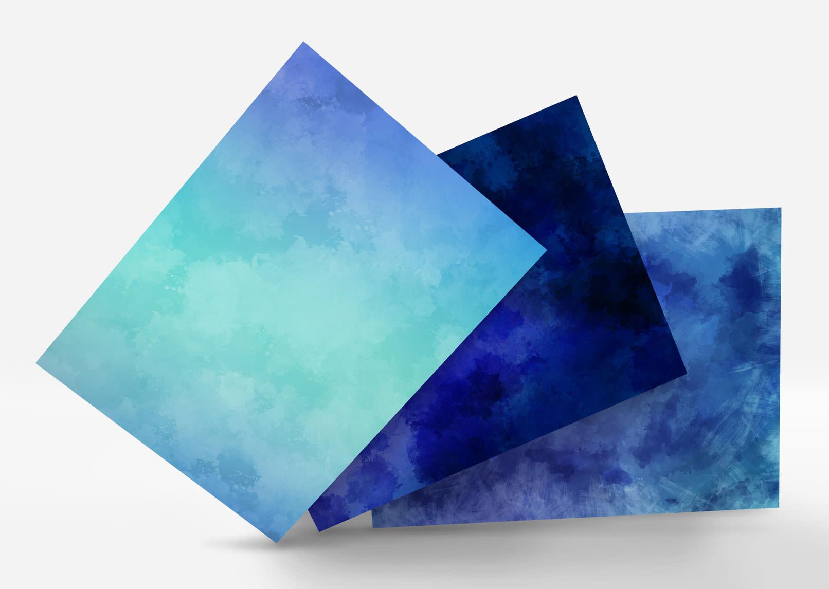 Aquarell-Hintergrund-Varianten in Blau