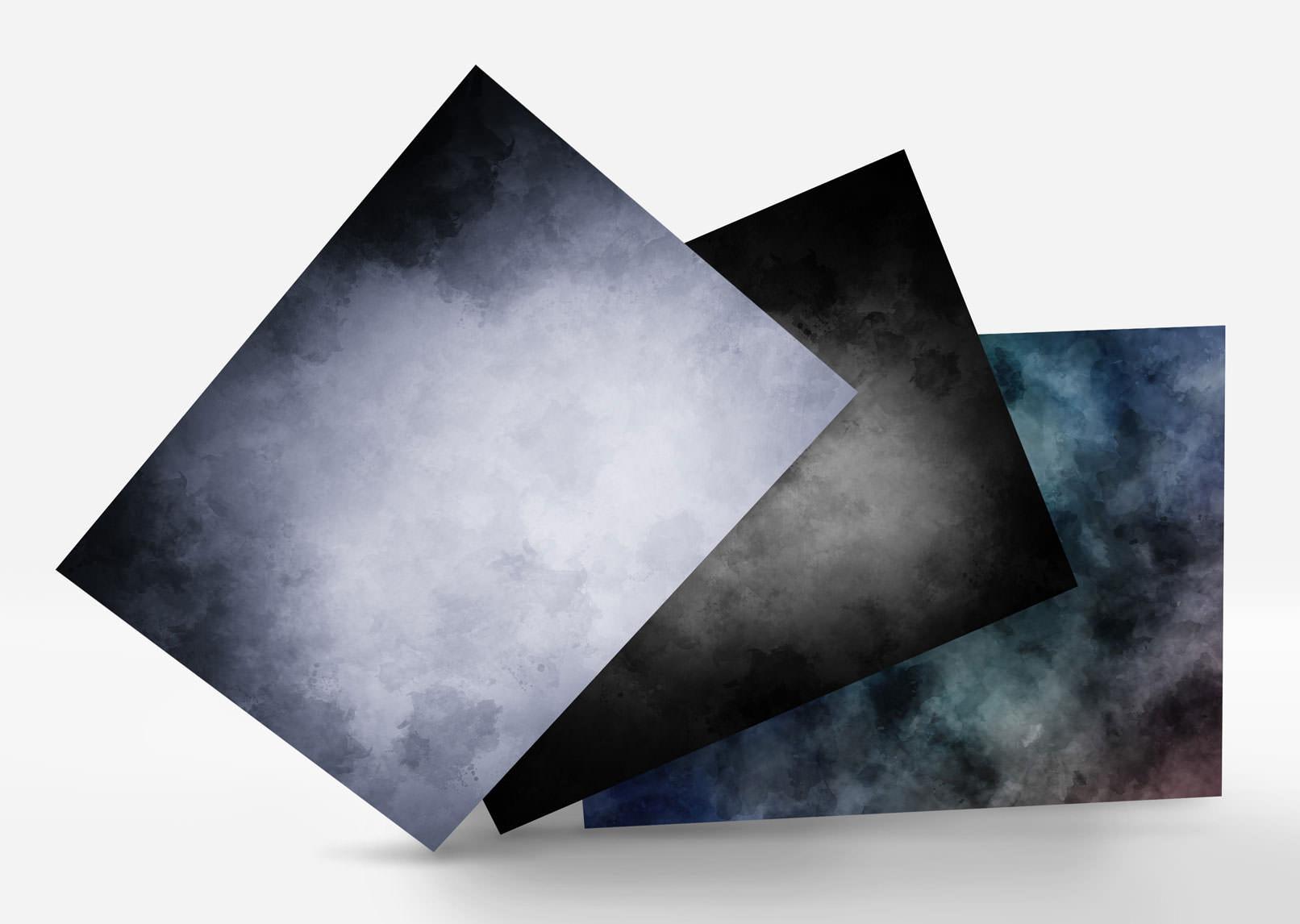 Aquarell-Hintergrund-Varianten in Schwarz und Grau