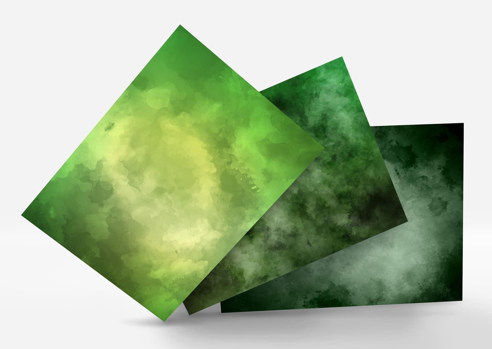 Aquarell-Hintergrund-Varianten in Grün