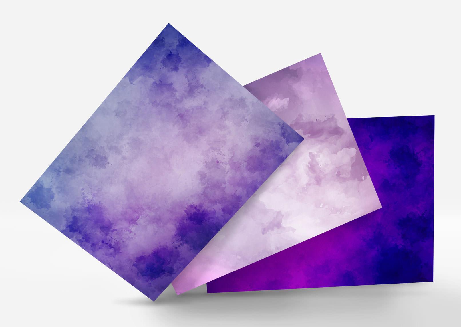 Aquarell-Hintergrund-Varianten in Lila