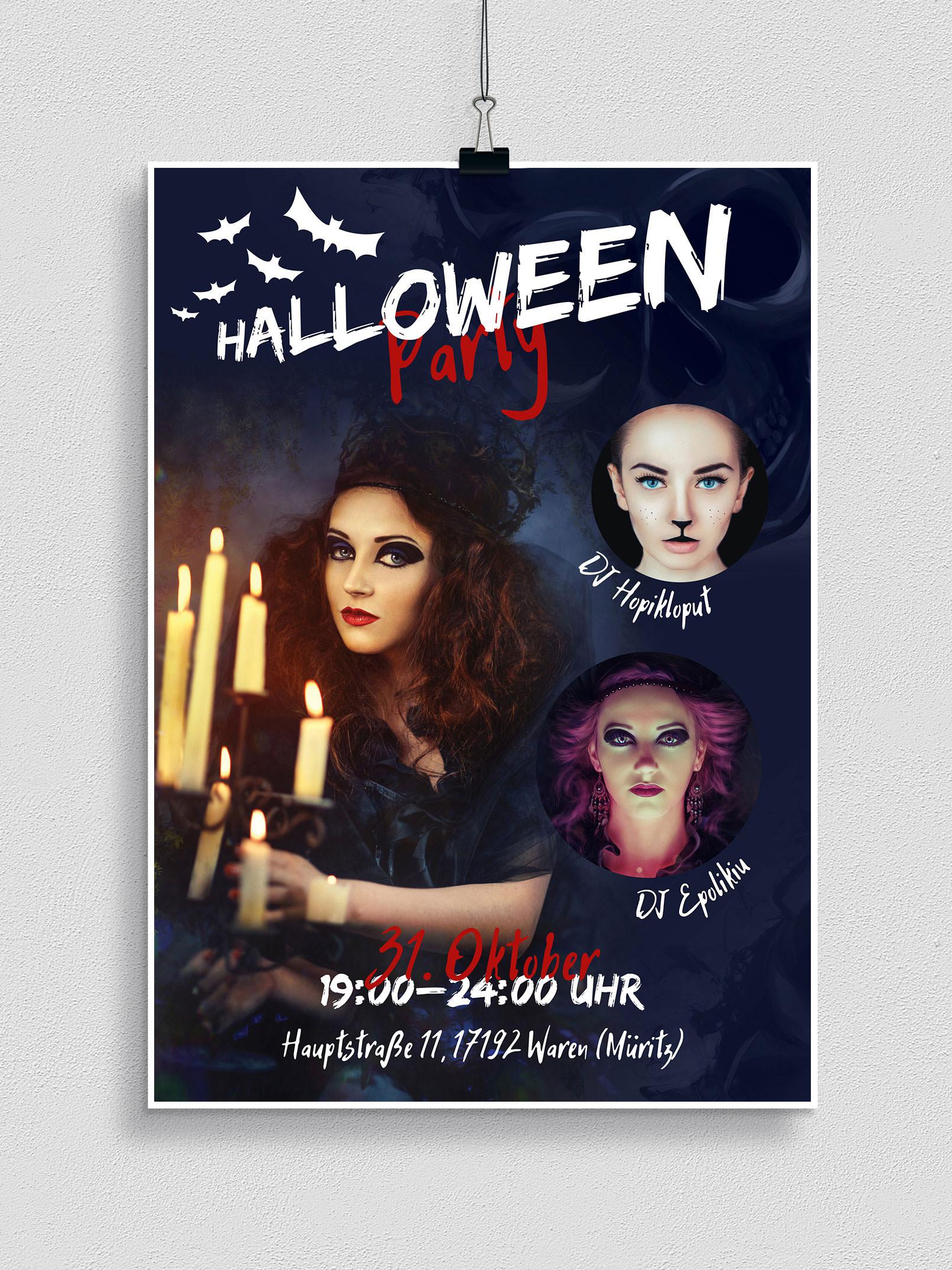 Halloween-Vorlage für Flyer, Plakat und Party-Einladung