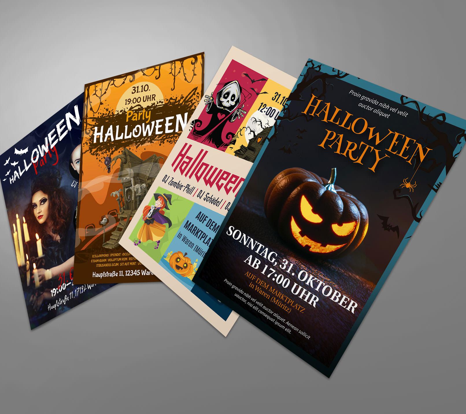 5 Halloween-Vorlagen für Flyer, Plakat und Party-Einladung