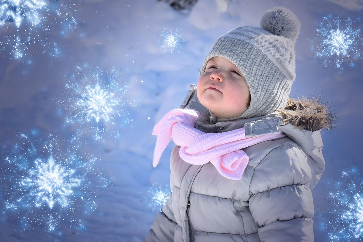 Mädchen im Winter, Schneeflocken-Vorlage wurde in das Bild eingearbeitet