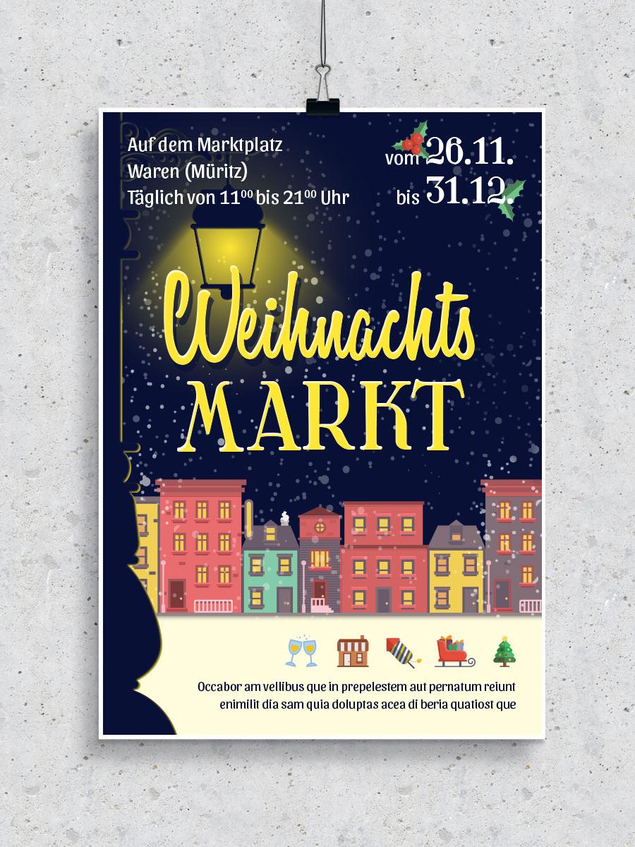 Vorlage für das Plakat eines Weihnachtsmarktes