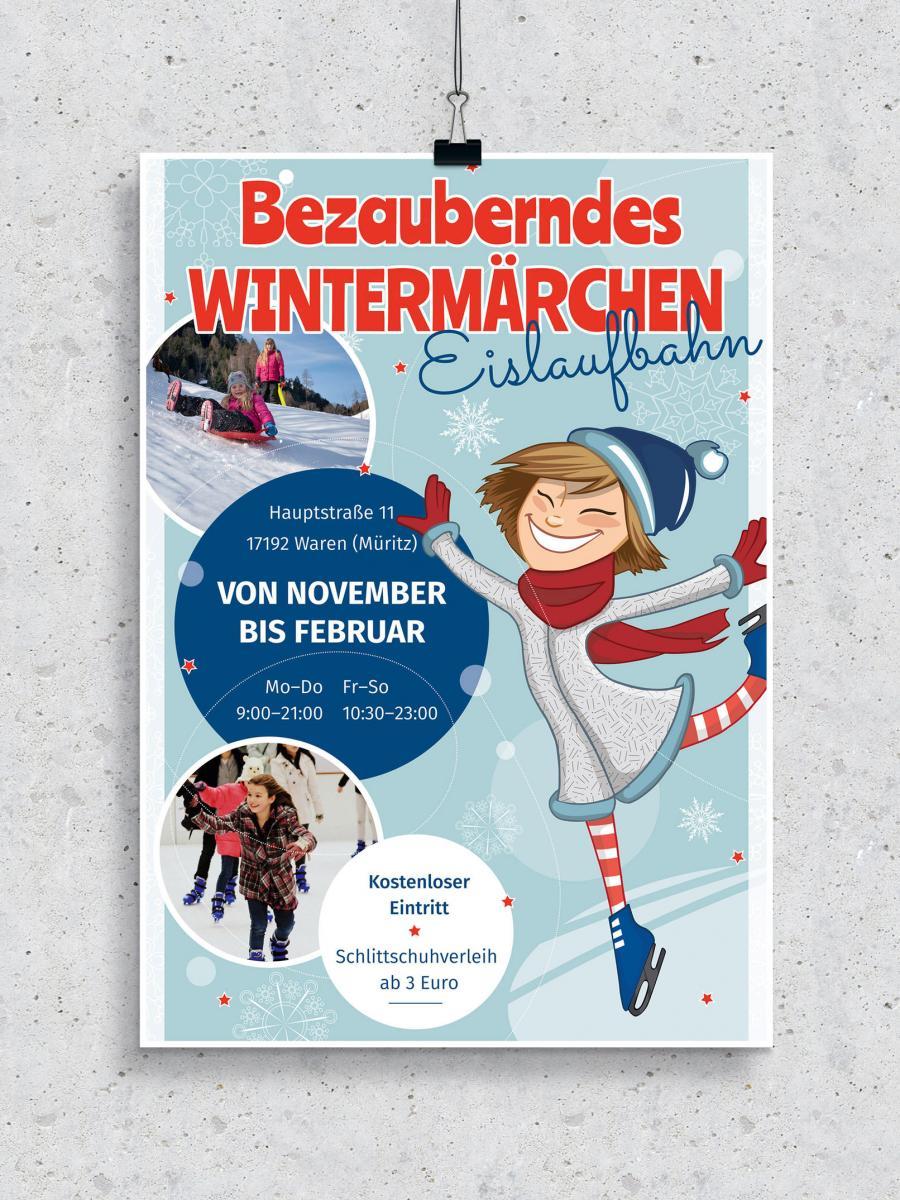 Plakat- und Flyer-Vorlage für ein Eislaufen